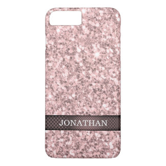 Monogrammed Rose Gold Glitter Pattern iPhone 7 Plus Case