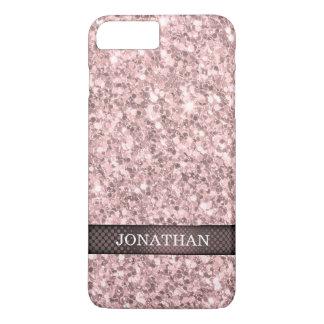 Monogrammed Rose Gold Glitter Pattern iPhone 7 Plus Case