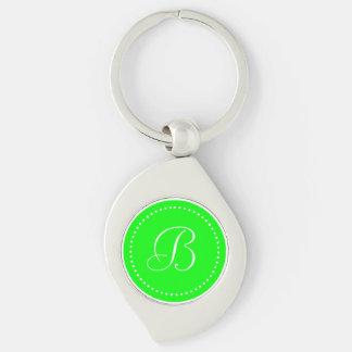 Monogrammed Round Lime Green White Dot Border Keychains