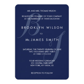 Monogrammed Round Navy Blue Wedding Invitations