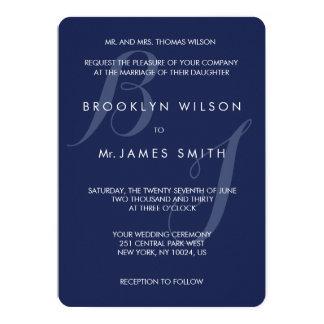 Monogrammed Round Navy Blue Wedding Invitations