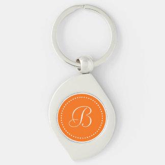 Monogrammed Round Orange/White Dot Border Keychains