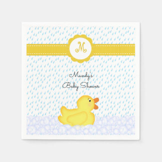 Monogrammed Rubber Ducky Baby Shower Napkins Paper Napkin