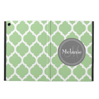 Monogrammed Sage Green & Grey Quatrefoil iPad Air Cover