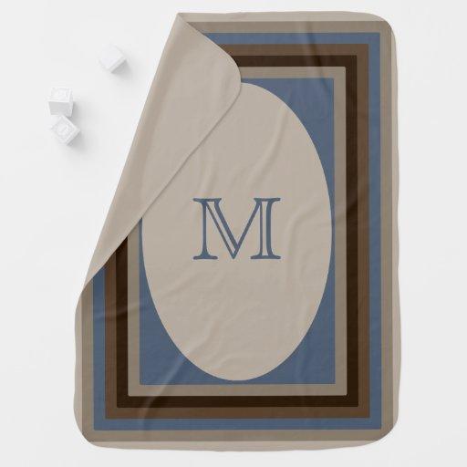 Monogrammed sand blue brown Baby Blanket
