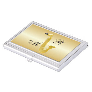 Monogrammed Saxophone Gold Coloured Business Card Case