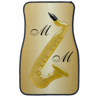 Monogrammed Saxophone Gold Coloured Car Mat