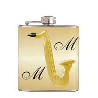 Monogrammed Saxophone Gold Coloured Hip Flask