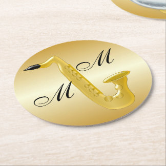 Monogrammed Saxophone Gold Coloured Round Paper Coaster