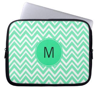 Monogrammed Seafoam Mint Green Ziggag Pattern Laptop Sleeve