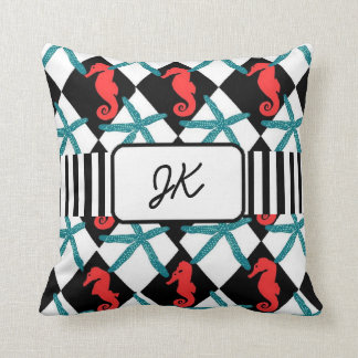 Monogrammed Seahorse and Starfish Throw Pillow