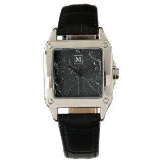 Monogrammed SF GB Black Marble Watch