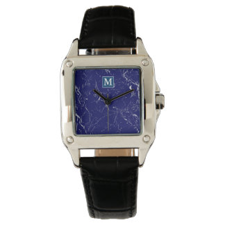 Monogrammed SF GB Blue Marble Watch