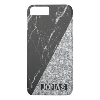 Monogrammed Silver Glitter And Black Marble iPhone 8 Plus/7 Plus Case