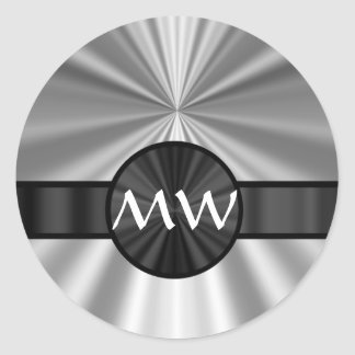 Monogrammed silver gray classic round sticker