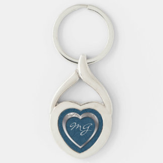 Monogrammed Silver Heart on Blue - Key Chain Keychains