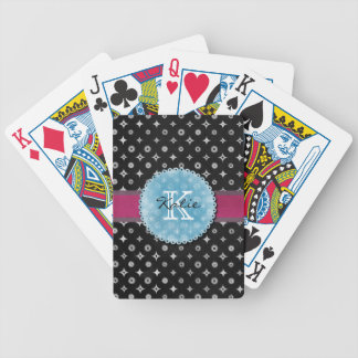 Monogrammed Silver Star Bicycle Playing Cards