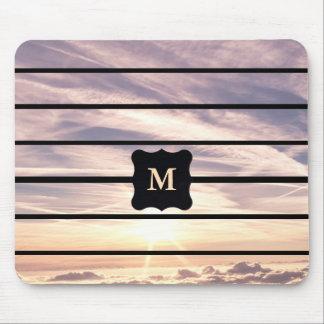 Monogrammed sky scene mouse pad