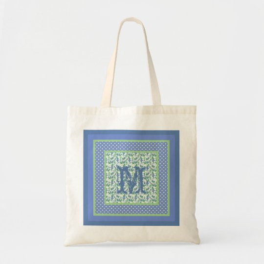 Monogrammed Snowdrops and Polka Dots Blue, Green Tote