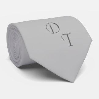 Monogrammed solid color silver gray tie