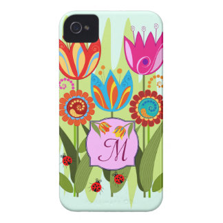 Monogrammed Spring with tulips iPhone 4 Case