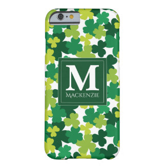 Monogrammed St. Patrick's Day Shamrocks Barely There iPhone 6 Case