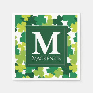 Monogrammed St. Patrick's Day Shamrocks Disposable Serviette