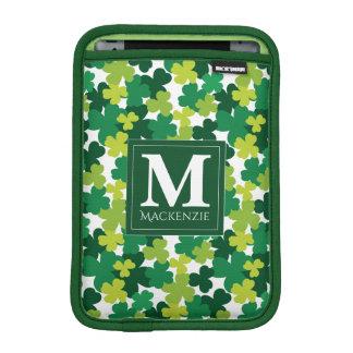 Monogrammed St. Patrick's Day Shamrocks iPad Mini Sleeve