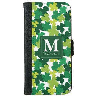 Monogrammed St. Patrick's Day Shamrocks iPhone 6 Wallet Case