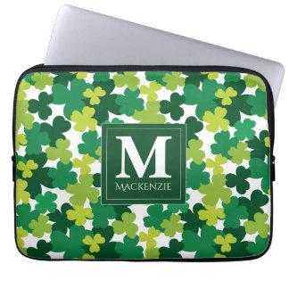 Monogrammed St. Patrick's Day Shamrocks Laptop Sleeve