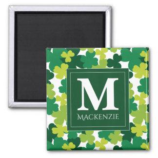 Monogrammed St. Patrick's Day Shamrocks Magnet