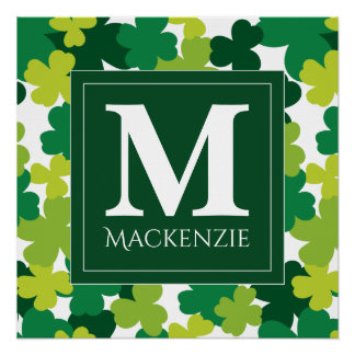 Monogrammed St. Patrick's Day Shamrocks Poster