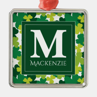 Monogrammed St. Patrick's Day Shamrocks Silver-Colored Square Decoration