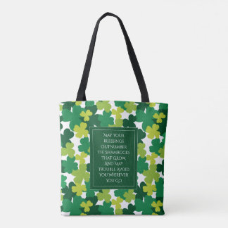Monogrammed St. Patrick's Day With Irish Blessing Tote Bag