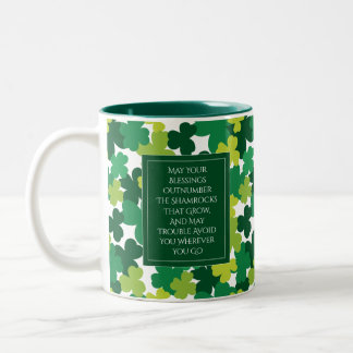 Monogrammed St. Patrick's Day With Irish Blessing Two-Tone Coffee Mug