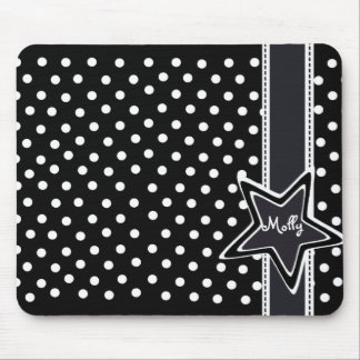Monogrammed star with black and white polka dots mouse pad