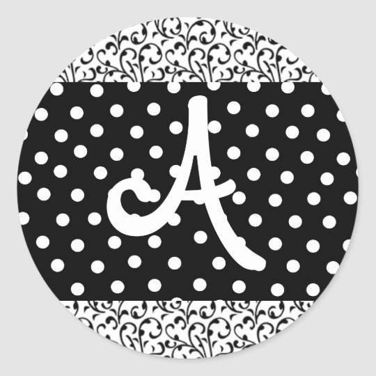 Monogrammed stickers black and white dots & damask
