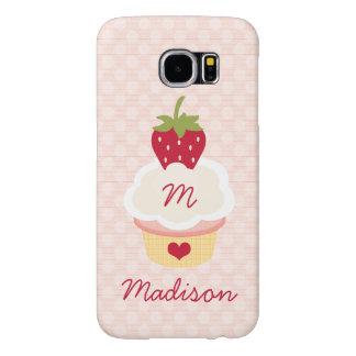 Monogrammed Strawberry Cupcake Samsung Galaxy S6 Cases