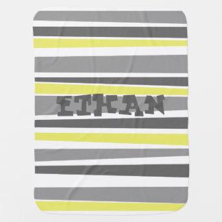 Monogrammed Striped Blanket Buggy Blanket