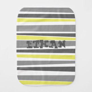 Monogrammed Striped Burp Cloth