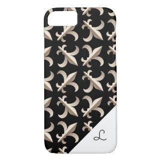 Monogrammed Striped fleur de lis pattern iPhone 8/7 Case