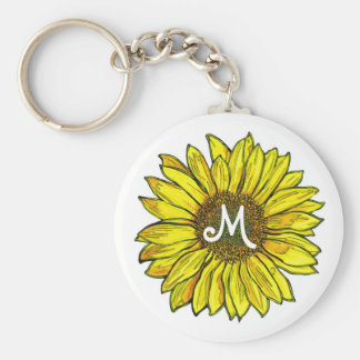 Monogrammed Sunflower Basic Round Button Key Ring