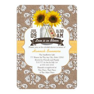 Monogrammed Sunflower Mason Jar Bridal Shower 13 Cm X 18 Cm Invitation Card