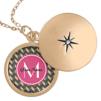 Monogrammed Tan and Gray Chevron Patchwork Pattern Round Locket Necklace