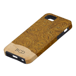 Monogrammed Tan Leather Look Rustic Country Tough iPhone 5 Case