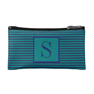 Monogrammed Teal and Blue Striped Cosmetic Bag