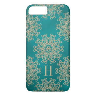 Monogrammed Teal and Gold Exotic Medallion iPhone 7 Plus Case
