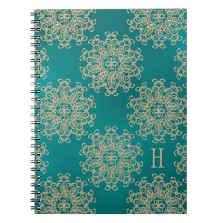 Monogrammed Teal and Gold Notebook Journal