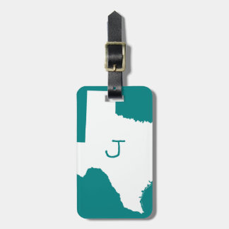 Monogrammed Teal and White Texas Luggage Tag