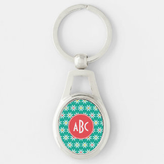 Monogrammed Teal Daisy Dots Key Ring
